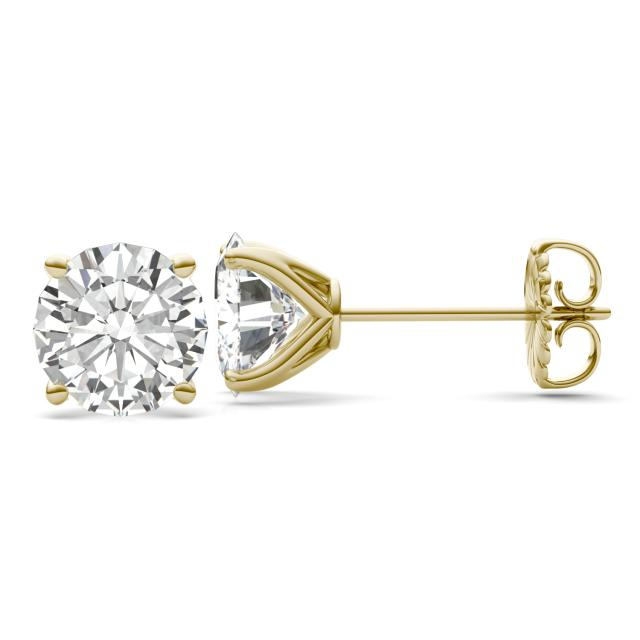 7.20 CTW DEW Round Forever One Moissanite Four Prong Martini Solitaire Stud Earrings in 14K Yellow Gold