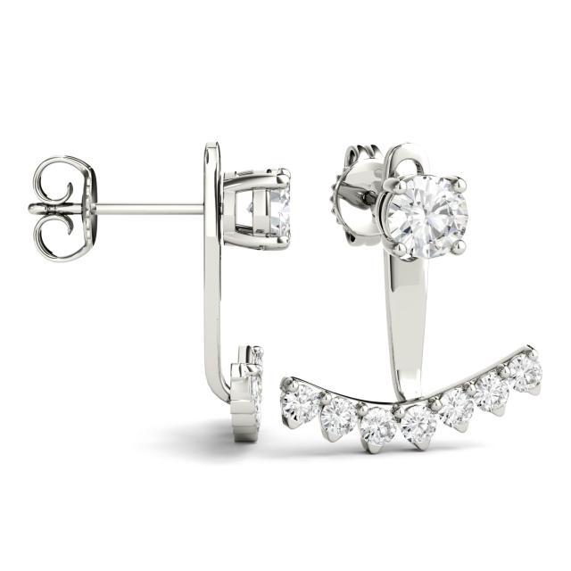 1.08 CTW Round Forever One Moissanite Peek A Boo Drop Earrings in 14K White Gold