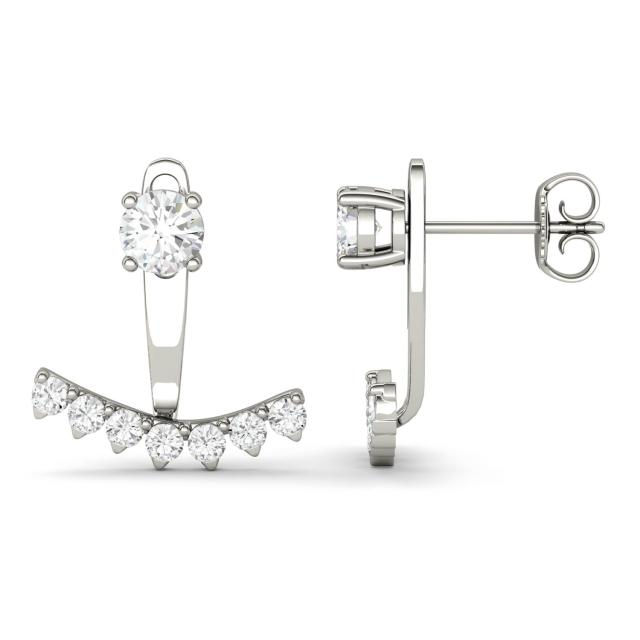 1.08 CTW DEW Round Forever One Moissanite Peek A Boo Drop Earrings in 14K White Gold