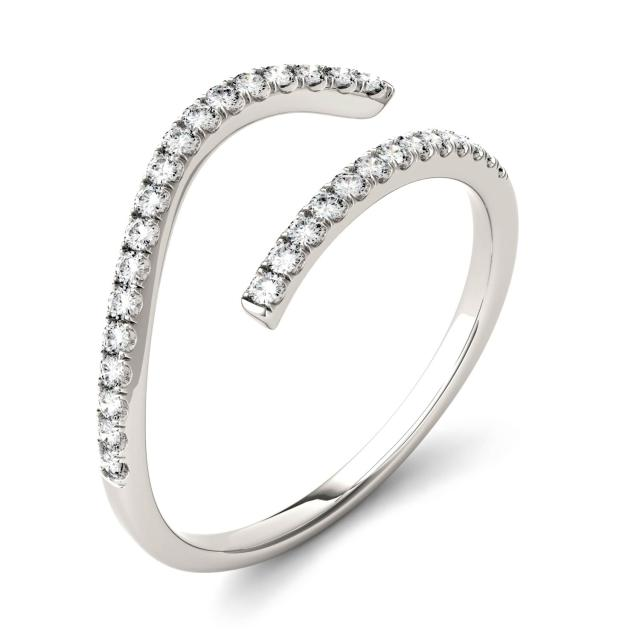 0.16 CTW DEW Round Forever One Moissanite Open Bypass Fashion Ring in 14K White Gold
