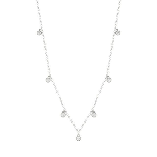 0.16 CTW DEW Round Forever One Moissanite Station Necklace in 14K White Gold