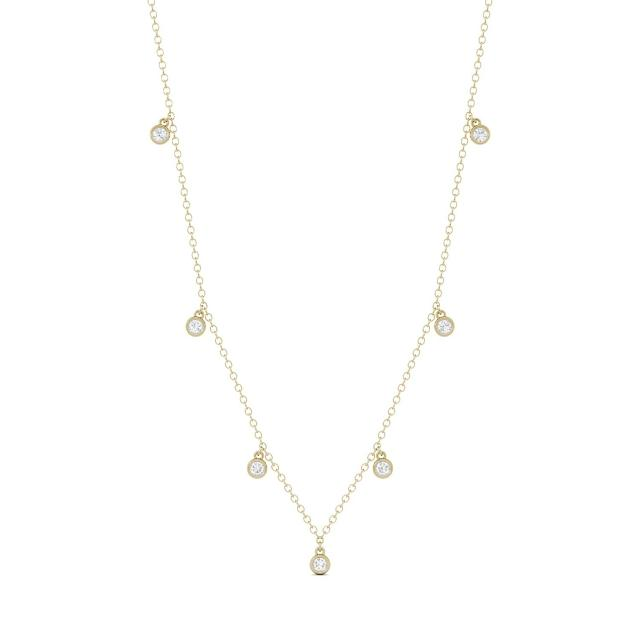 0.16 CTW DEW Round Forever One Moissanite Necklace in 14K Yellow Gold