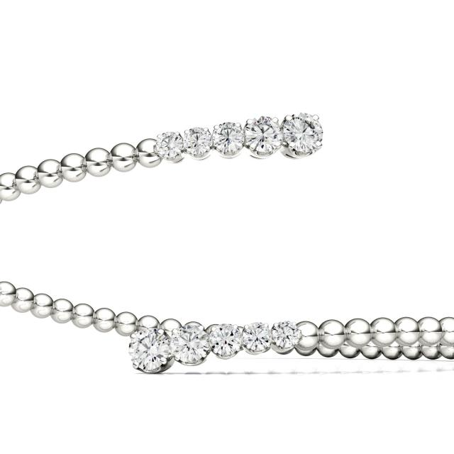 0.78 CTW Round Forever One Moissanite Bypass Cuff Bracelet in 14K White Gold
