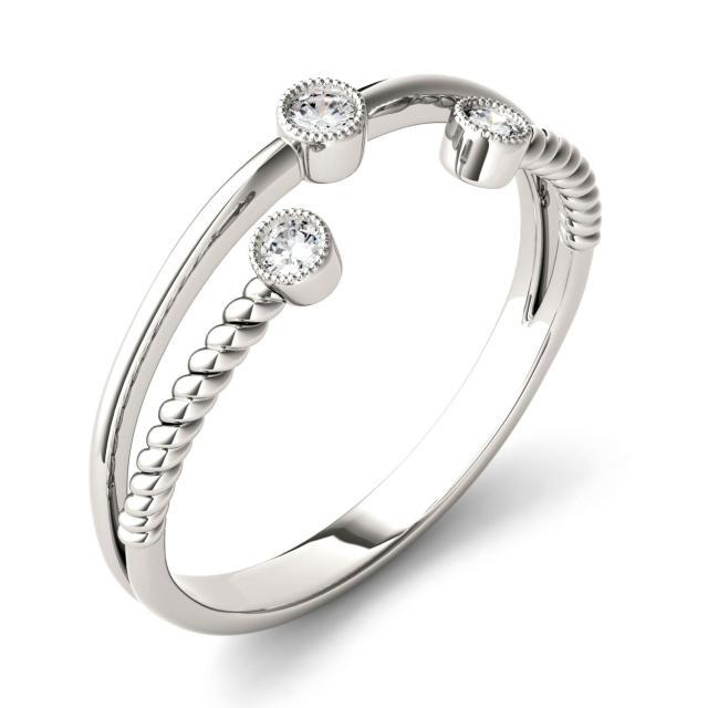 0.09 CTW DEW Round Forever One Moissanite Split Shank Bezel Set Fashion Ring in 14K White Gold