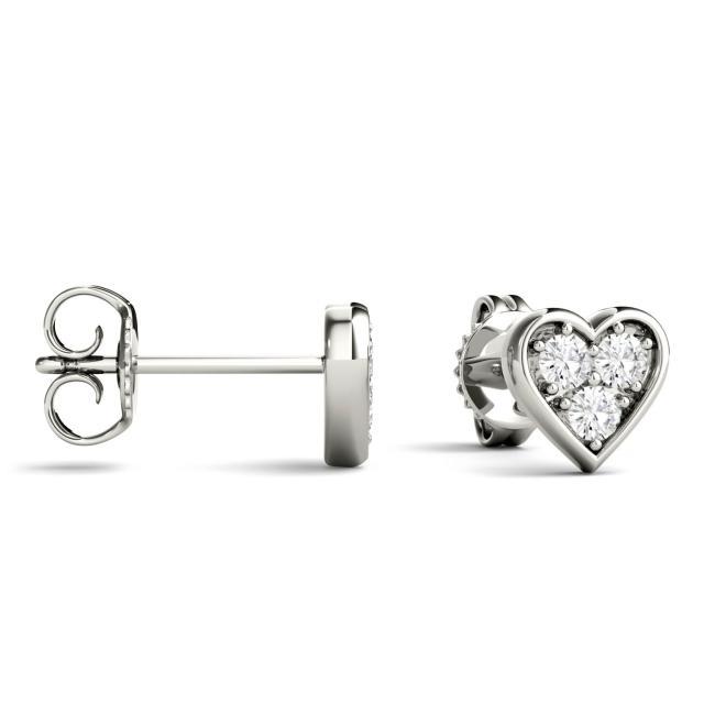 0.18 CTW Round Forever One Moissanite Heart Shaped Stud Earrings in 14K White Gold