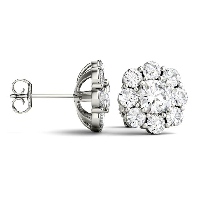 3.20 CTW Cushion Forever One Moissanite Halo Floral Stud Earrings in 14K White Gold