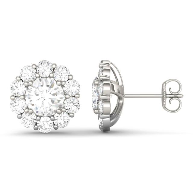 4.00 CTW DEW Round Forever One Moissanite Floral Halo Stud Earrings in 14K White Gold
