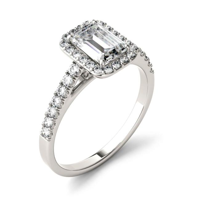 1.28 CTW DEW Emerald Forever One Moissanite Halo with Side Accents Engagement Ring in 14K White Gold