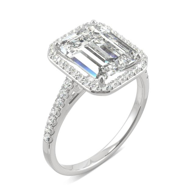 3.89 CTW DEW Emerald Forever One Moissanite Halo with Side Accents Engagement Ring in 14K White Gold