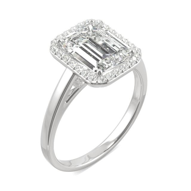 3.77 CTW DEW Emerald Forever One Moissanite Halo Engagement Ring in 14K White Gold
