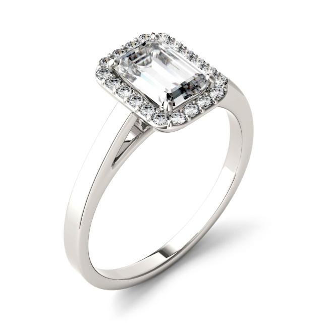 0.72 CTW DEW Emerald Forever One Moissanite Halo Engagement Ring in 14K White Gold