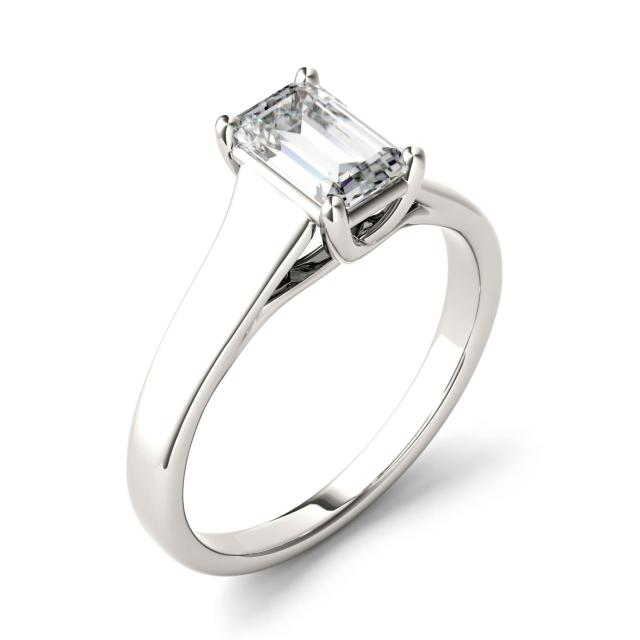 2.52 CTW DEW Emerald Forever One Moissanite Solitaire Engagement Ring in 14K White Gold