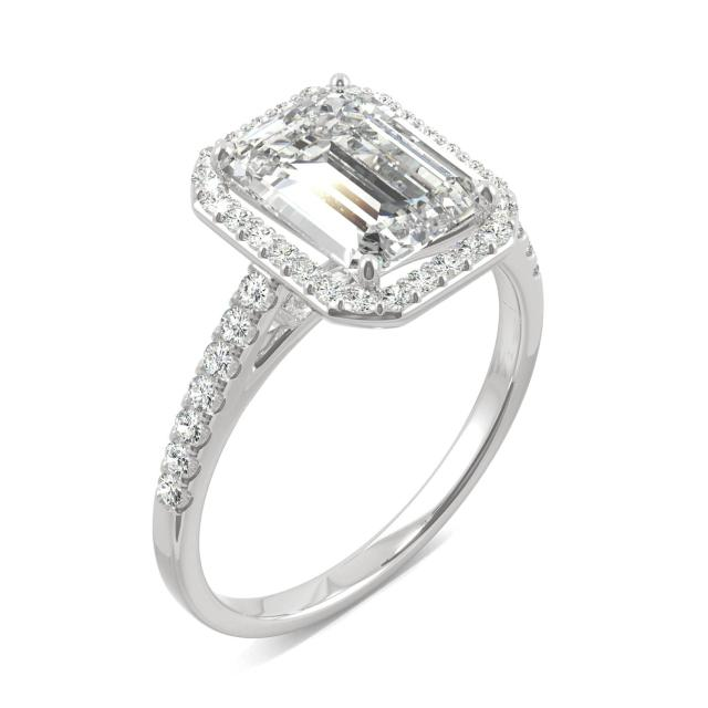 2.84 CTW DEW Emerald Forever One Moissanite Halo with Side Accents Engagement Ring in 14K White Gold