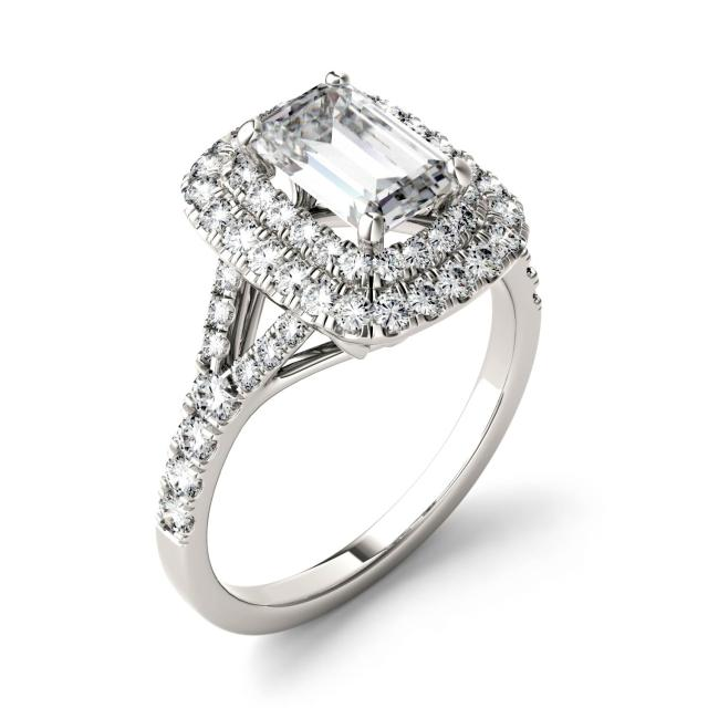 Forever One 1.51CTW Emerald Moissanite Double Halo with Side Accents Engagement Ring in 14K White Gold