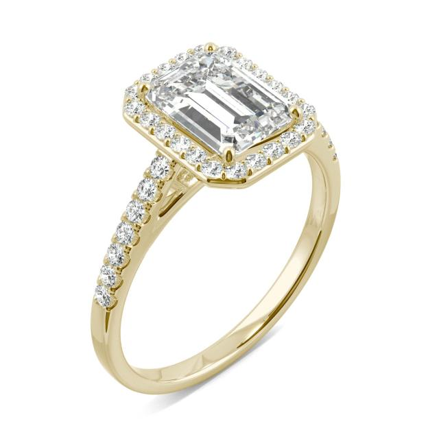 2.04 CTW DEW Emerald Forever One Moissanite Halo with Side Accents Engagement Ring in 14K Yellow Gold
