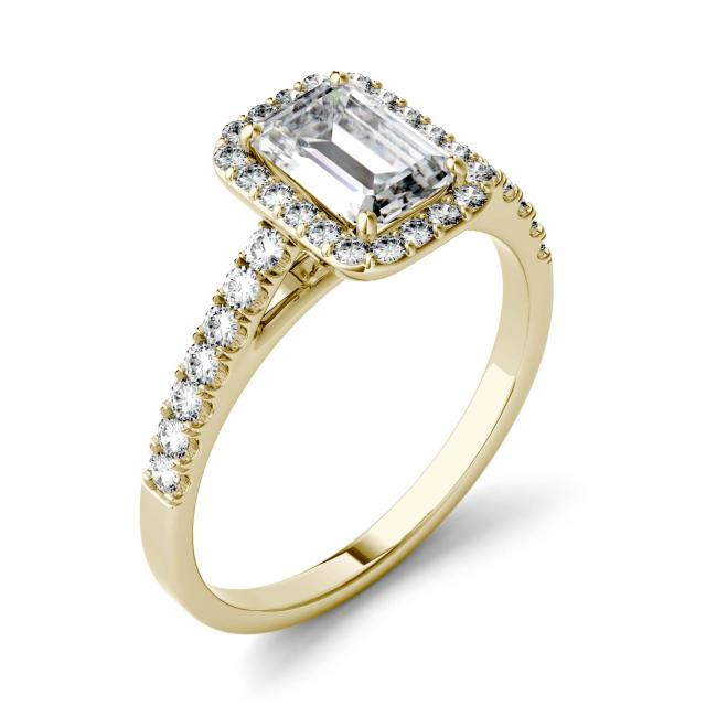 0.84 CTW DEW Emerald Forever One Moissanite Halo with Side Accents Engagement Ring in 14K Yellow Gold