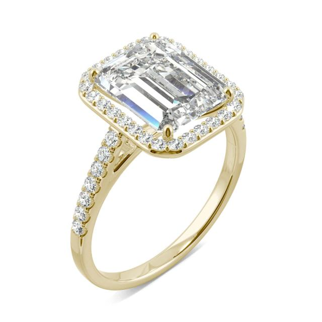 3.89 CTW DEW Emerald Forever One Moissanite Halo with Side Accents Engagement Ring in 14K Yellow Gold