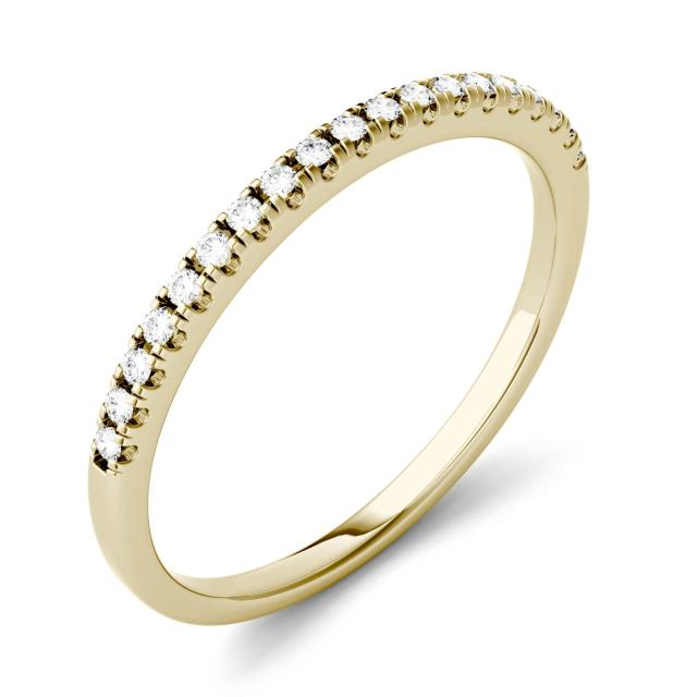 0.13 CTW DEW Round Forever One Moissanite Prong Set Band in 14K Yellow Gold