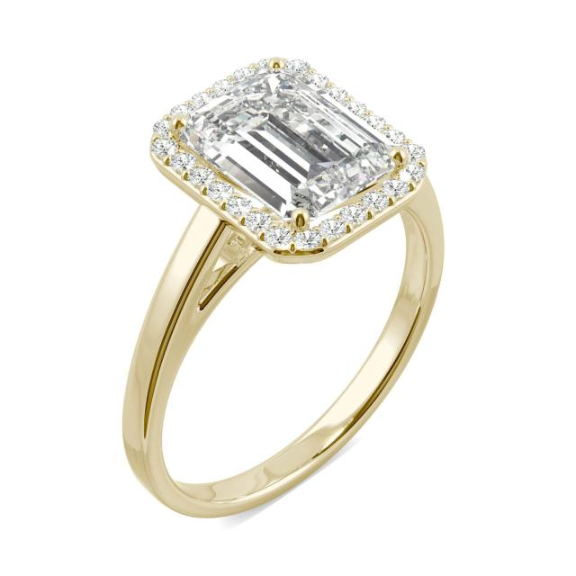3.77 CTW DEW Emerald Forever One Moissanite Halo Engagement Ring in 14K Yellow Gold
