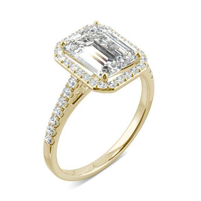 2.84 CTW DEW Emerald Forever One Moissanite Halo with Side Accents Engagement Ring in 14K Yellow Gold