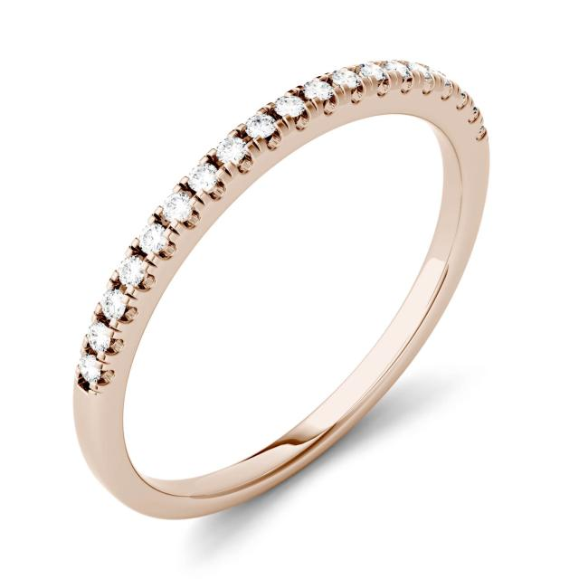 0.13 CTW DEW Round Forever One Moissanite Prong Set Band in 14K Rose Gold
