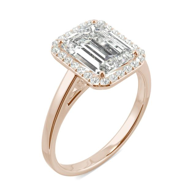 3.77 CTW DEW Emerald Forever One Moissanite Halo Engagement Ring in 14K Rose Gold