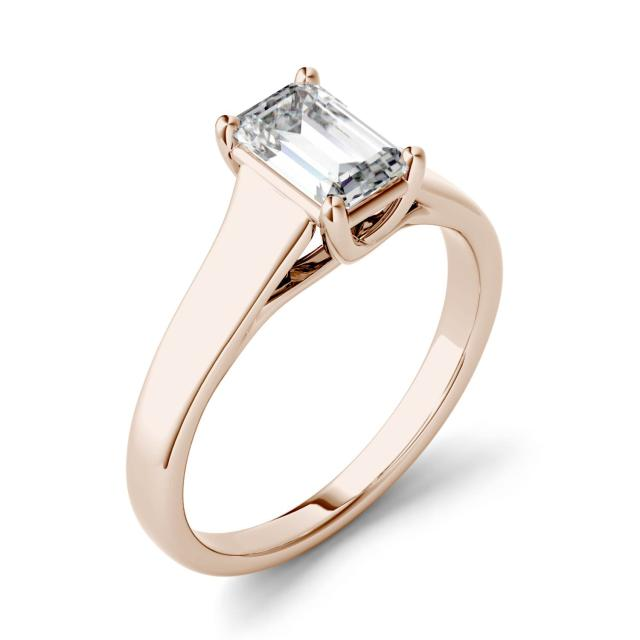 0.58 CTW DEW Emerald Forever One Moissanite Solitaire Engagement Ring in 14K Rose Gold