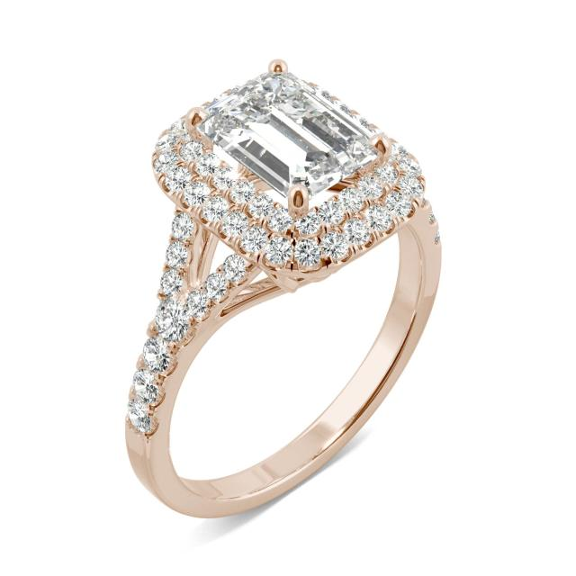2.27 CTW DEW Emerald Forever One Moissanite Double Halo with Side Accents Engagement Ring in 14K Rose Gold
