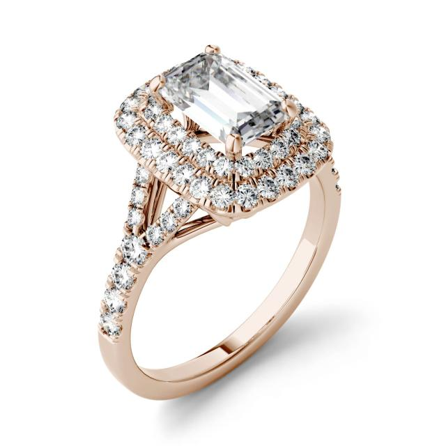 1.05 CTW DEW Emerald Forever One Moissanite Double Halo with Side Accents Engagement Ring in 14K Rose Gold