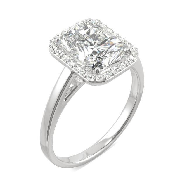 Forever One 2.91CTW Radiant Moissanite Halo Engagement Ring in 14K White Gold