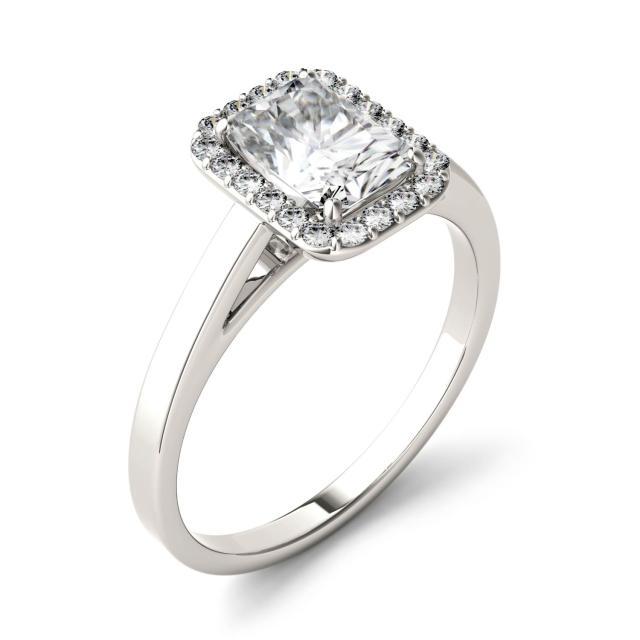 Forever One 1.36CTW Radiant Moissanite Halo Engagement Ring in 14K White Gold
