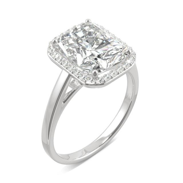 Forever One 4.12CTW Radiant Moissanite Halo Engagement Ring in 14K White Gold