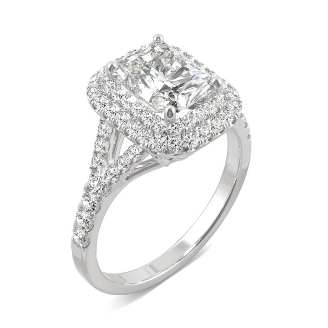 Forever One 1.70CTW Radiant Moissanite Double Halo with Side Accents Engagement Ring in 14K White Gold