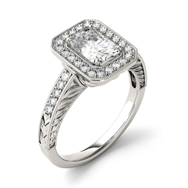 Forever One 2.14CTW Radiant Moissanite Halo with Side Accents Engagement Ring in 14K White Gold
