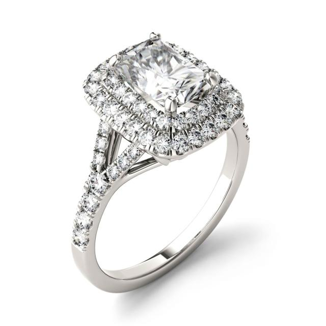 Forever One 1.17CTW Radiant Moissanite Double Halo with Side Accents Engagement Ring in 14K White Gold