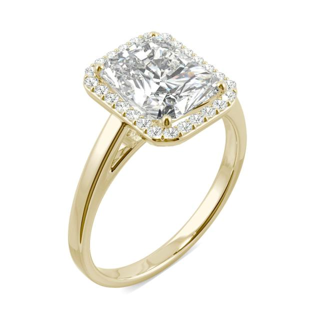 Forever One 2.91CTW Radiant Moissanite Halo Engagement Ring in 14K Yellow Gold