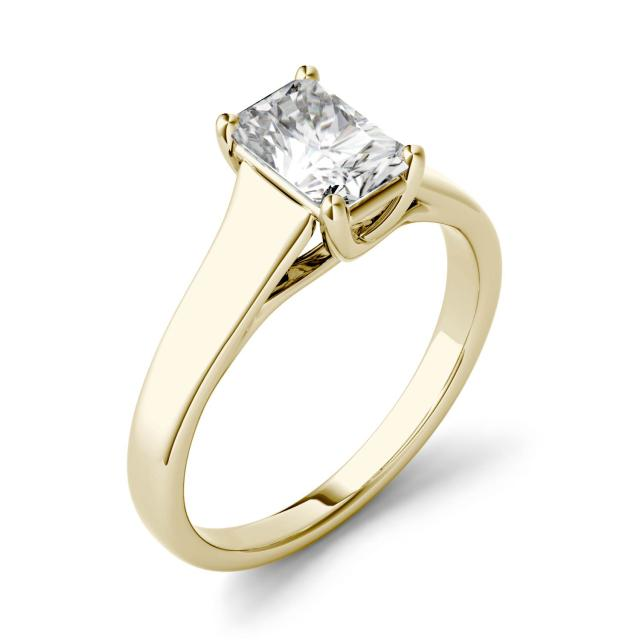 Forever One 2.70CTW Radiant Moissanite Solitaire Engagement Ring in 14K Yellow Gold