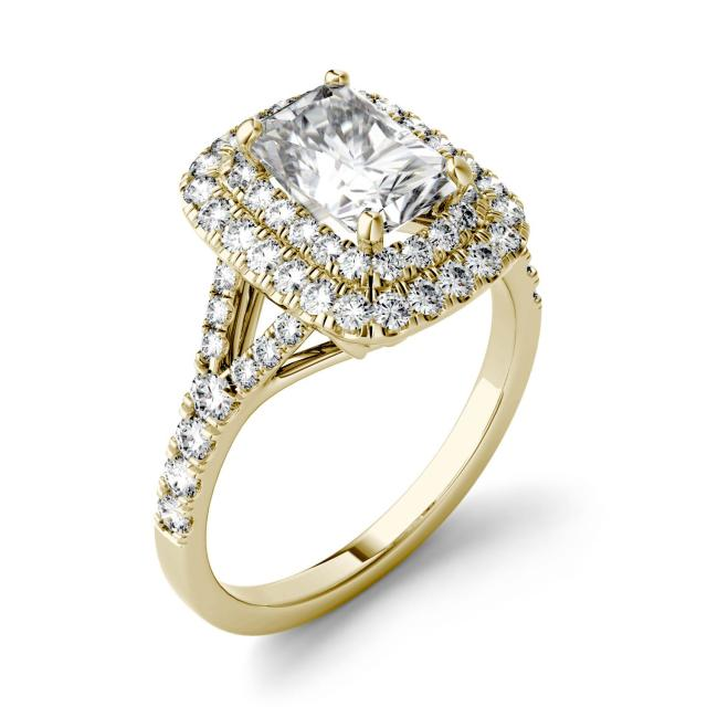 Forever One 1.17CTW Radiant Moissanite Double Halo with Side Accents Engagement Ring in 14K Yellow Gold