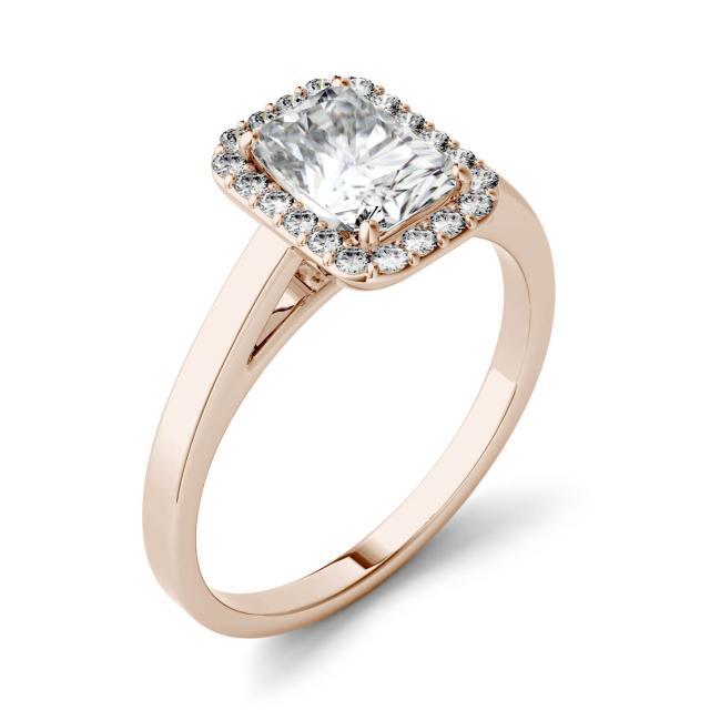 Forever One 0.84CTW Radiant Moissanite Halo Engagement Ring in 14K Rose Gold