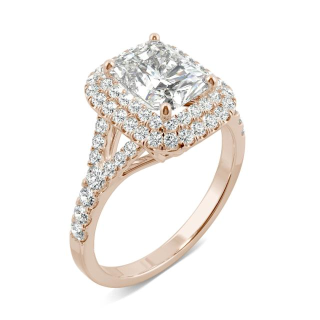 Forever One 1.70CTW Radiant Moissanite Double Halo with Side Accents Engagement Ring in 14K Rose Gold