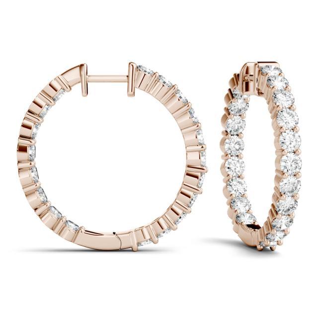 2.28 CTW Round Forever One Moissanite Hoop Earrings in 14K Rose Gold