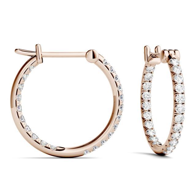 0.44 CTW Round Forever One Moissanite Hoop Earrings in 14K Rose Gold