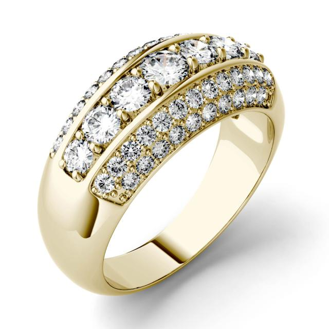 Forever One 1.14CTW Round Moissanite Five Row Anniversary Band in 14K Yellow Gold
