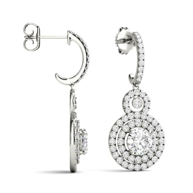 2.82 CTW Round Forever One Moissanite Double Halo Drop Earrings in 14K White Gold