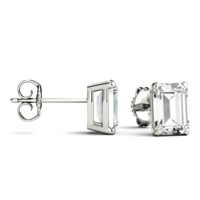 2.02 CTW Emerald Forever One Moissanite Solitaire Stud Earring Earrings in 14K White Gold