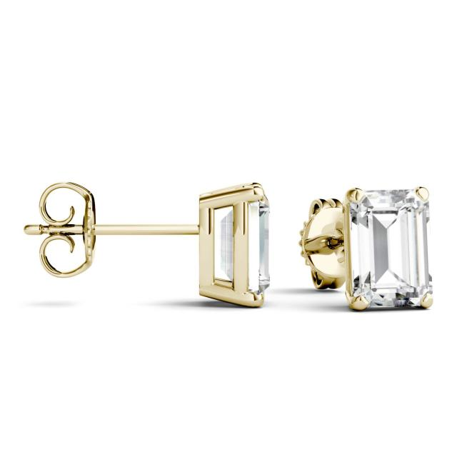 3.50 CTW Emerald Forever One Moissanite Solitaire Stud Earrings in 14K Yellow Gold