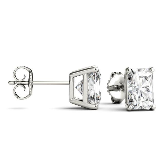 3.60 CTW Radiant Forever One Moissanite Four Prong Stud Earrings in 14K White Gold