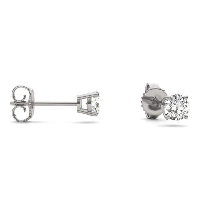 0.46 CTW Round Forever One Moissanite Solitaire Stud Earrings in 14K White Gold