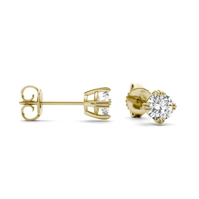 0.66 CTW Round Forever One Moissanite Solitaire Stud Earrings in 14K Yellow Gold