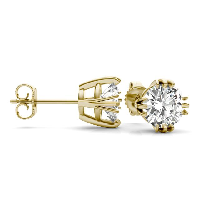 2.40 CTW Round Forever One Moissanite Solitaire Stud Earrings in 14K Yellow Gold
